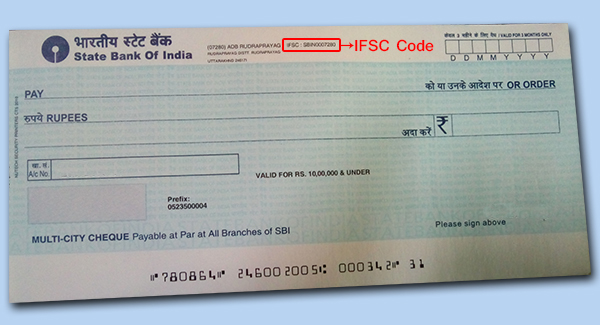 IFSC in cheque of an Indian bank